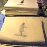 Comparison of how tall 168 sheets of watercolor paper are vs. 168 sheets of tracing paper